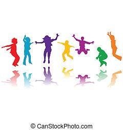 gruppe, hand, silhouetten, springende , gezeichnet, kinder