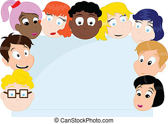 gruppe, karikatur, kinder