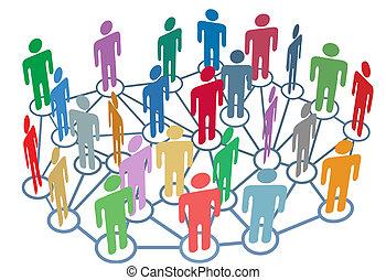 gruppe, vernetzung, leute, medien, sozial, viele, talk