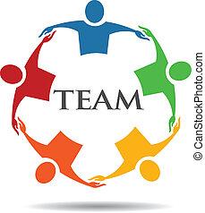 Gruppe von Leuten Team 6 umarmen.