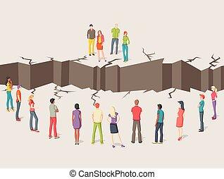 gruppen, floor., leute, rissig, zwei, getrennt