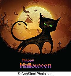 Gruselige Katze in Halloween