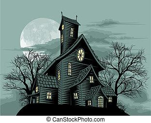 Gruseliges Geisterhaus-Illustration