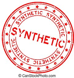 gummi, weißes, wort, runder , synthetisch, briefmarke, rotes , siegel, grunge, hintergrund