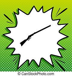 gun., weißes, schwarz, silhouette, popart, grüner hintergrund, gewehr, ikone, spots., jagen, illustration., spritzen