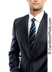 Gut gekleideter Mann mit schwarzem Anzug und Krawatte.