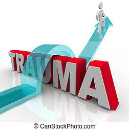 guten, wort, positiv, sprünge, brunnen, rehabilitation, symbolizing, person, haltung, pfeil, trauma, effekte, theraphy, aus