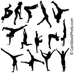Gymnastik-Silhouettes-Sammlung
