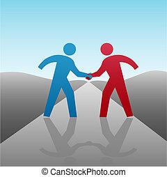 hã¤ndedruck, geschäftsmenschen, zusammen, fortschritt, partner