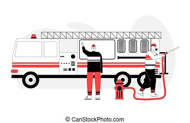 hält, hydrant, steht, saugschlauch, brennen lastwagen, feuerwehrmann, feuerwehrmann