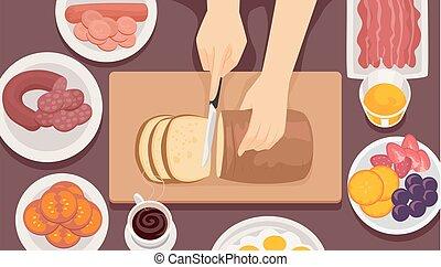 Hände auf die Frühstücks Illustration.