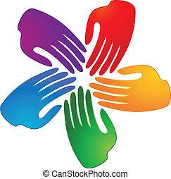 Hände, die das Logo der Menschen verbinden.