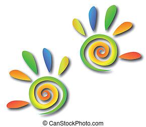 hände, gefärbt, spirale, vektor, fingers.