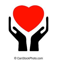 Hände halten das Herz. EPS 8