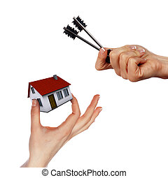 Hände halten Haus