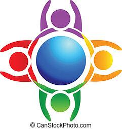 Hände hoch um das Logo der Welt.