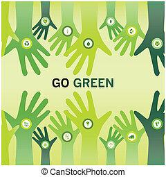 Hände jubeln Go Green für umweltfreundlich und nachhaltige Welt oder Geschäft