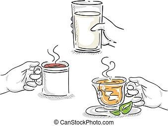Hände Kaffeemilch Tee trinken Illustration.