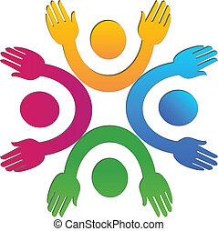 hände, leute, auf, gemeinschaftsarbeit, logo