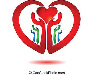 Hände mit einem Herz-Ikonenvektor