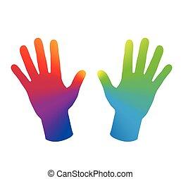 Hände Regenbogenfarbe