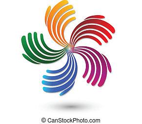 Hände Regenbogenfarben-Logo.