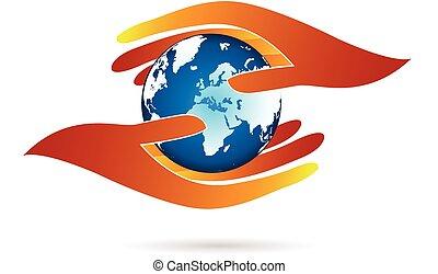 Hände schützen das Logo der Welt