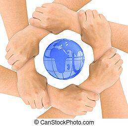 Hände und Globus