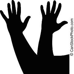 Hände zusammen, Silhouette.