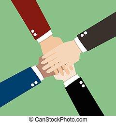 Hände zusammen