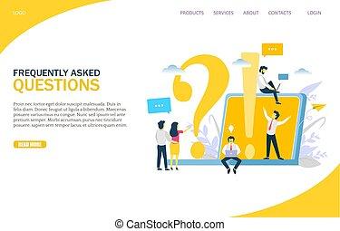Häufig gestellte Fragen Vektor Website Landing Page Design Vorlage