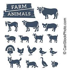 Häusliche Bauerntiere flache Silhouetten Vektor Ikonen