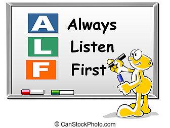 Höre immer zuerst ALF Akronym auf Whiteboard