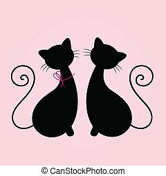 Hübsche Cats sitzen zusammen, Silhouette isoliert auf Rosa