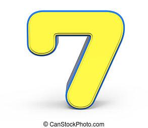 Hübsche gelbe Nummer 7.
