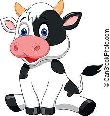 Hübsche Kuh-Cartoon-Sitzung