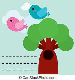Hübsche Vögel mit Baum.