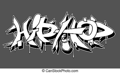 hüfte, städtisch, abbildung, vektor, graffiti, hopfen