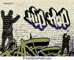 hüfte, wand, graffiti, hopfen, person