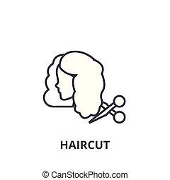 Haarschnitt dünne Linie Icon, Zeichen, Symbol, Illustration, lineares Konzept, Vektor.