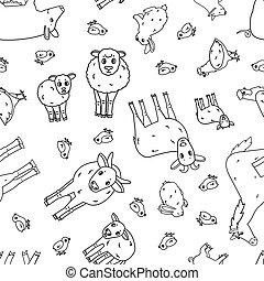 hahn, kind, seamless, reizend, schafe, grobdarstellung, horse., kanninchen, schwein, mutter, ram, gekritzel, karikatur, weißes, huhn, kälbchen, muster, schwarz, hase, klein, kuh, groß, stier, ziege, farm., tiere, vektor