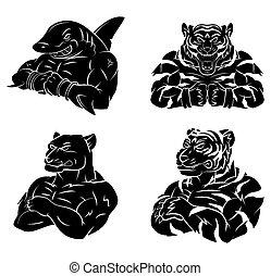 Hai, Tiger und Panther Tattoos.