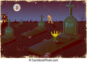 Halloween-Abend auf dem Friedhof