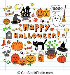 Halloween-Doodles Vektor Icon Set