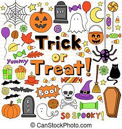 Halloween-Doodles Vektorset