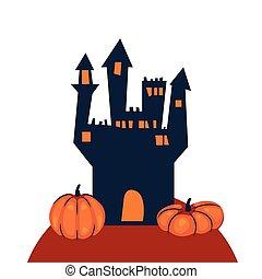 halloween, dunkel, villa, gebäude, terrorisiert