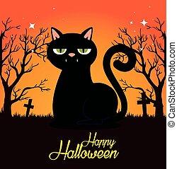 Halloween-Karte mit schwarzer Katze auf dem Friedhof.
