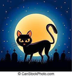 halloween, mond, szene, nacht, katz, friedhof, schwarz, voll
