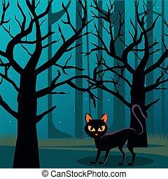 halloween, mond, szene, nacht, katz, wald, schwarz, voll