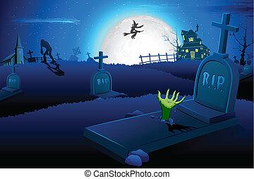 Halloween-Nacht auf dem Friedhof.